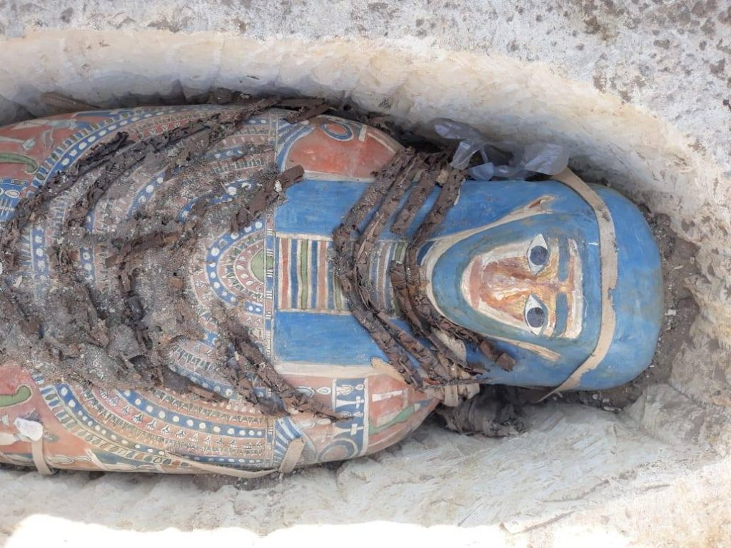 The sarcophagi were beautifully covered with vivid colors. Image Credit: Egyptian Ministry of Antiquities.