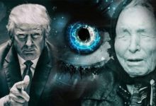 "Photo collage of Baba Vanga and president Donald Trump, with a ""seeing"" eye in between them."