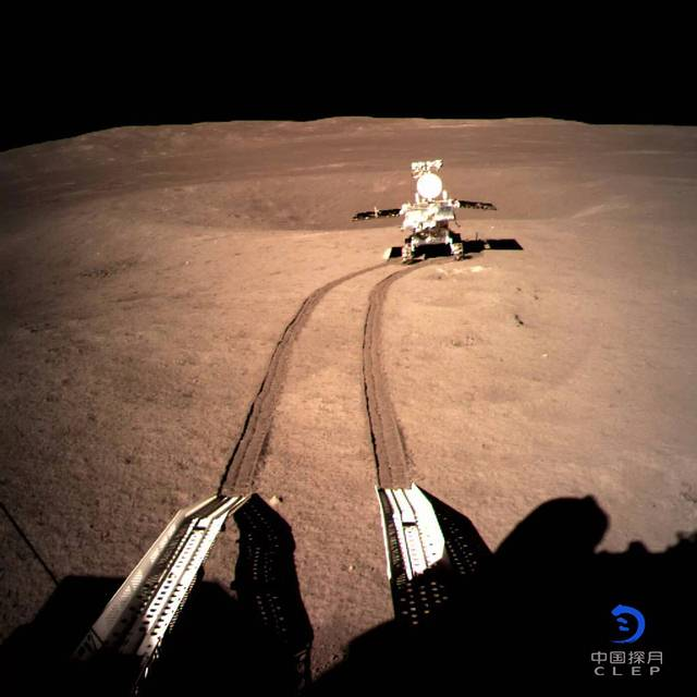 An Image taken by the Chang'e 4 lander, showing the Yutu-2 rover exploring the far side of the moon. Image Credit: CNSA.