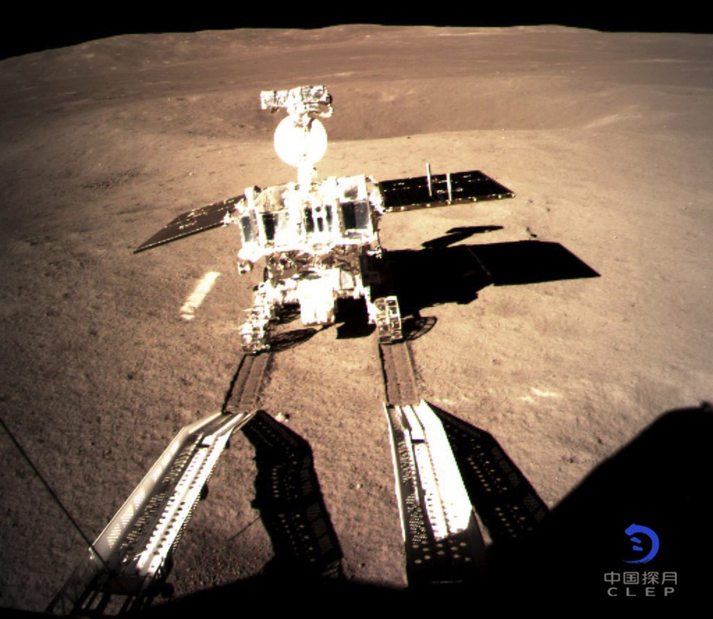 China's Yutu-2 Rover has successfully rolled out onto the lunar surface. Image Credit: CNSA.