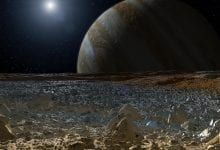 A simulated view from the surface of Europa. Image Credit: NASA.