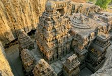A Stunning view at the rock cut temple at Ellora.