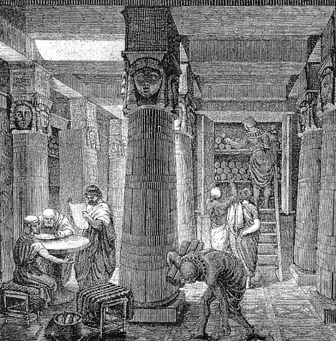 Artistic Rendering of the Library of Alexandria, based on some archaeological evidence. Image Credit: Wikimedia Commons.