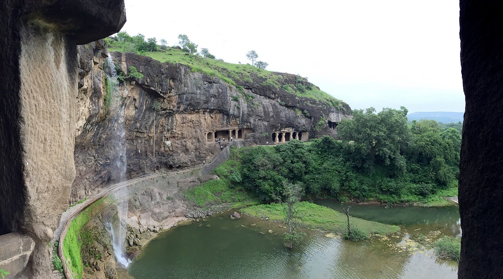 View from Cave 29, Ellora. Image Credit: Wikimedia Commons.