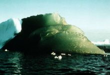This Green Iceberg was spotted on February 16th, 1985 in Antarctica. Image Credit: AGU / Kipfstuhl Et Al 1992.