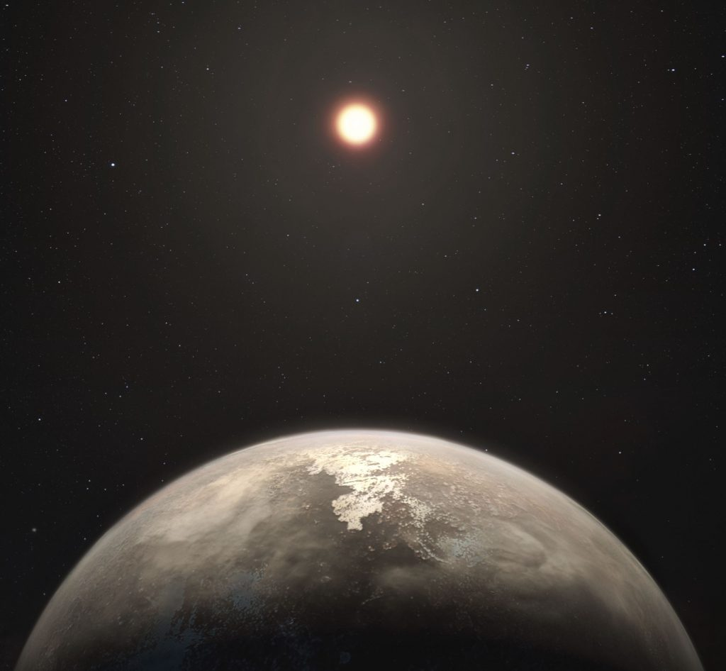 This artist's impression shows the temperate planet Ross 128 b, with its red dwarf parent star in the background. This planet, which lies only 11 light-years from Earth, was found by a team using ESO's unique planet-hunting HARPS instrument. Image Credit: Wikimedia Commons.