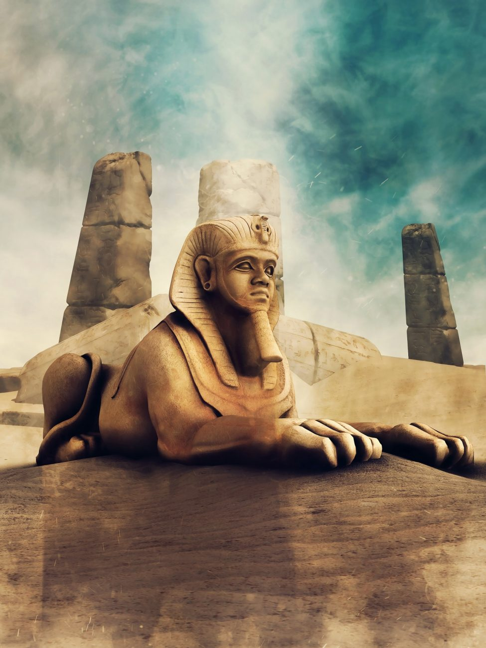 A rendering of a Sphinx statue. Shutterstock.