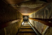 The interior of the Great Pyramid. Shutterstock.