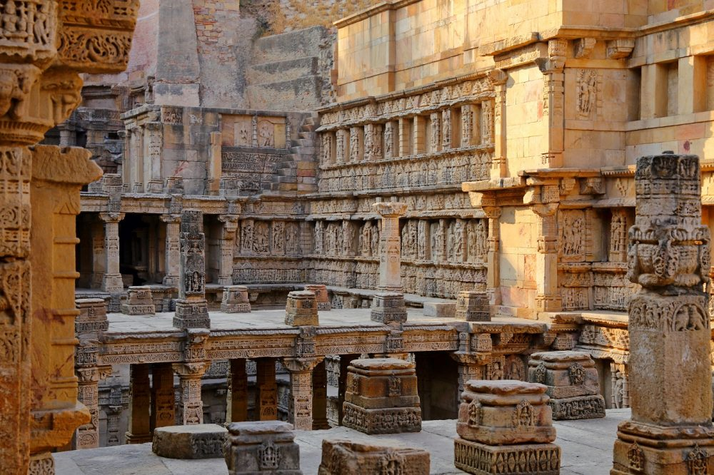 Rani ki vav, an stepwell on the banks of Saraswati River in Patan. A UNESCO world heritage site in Gujarat, India. Shutterstock.