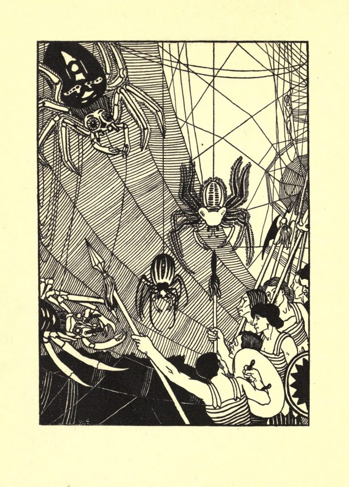 Illustration from 1894 by Aubrey Vincent Beardsley depicting a battle scene from Book One of Lucian's novel A True Story. Image Credit: Wikimedia Commons / Public Domain.