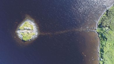 Aerial view of a 'crannog'. Image Credit: Antiquity, F. Sturt; Duncan Garrow and Fraser Sturt.