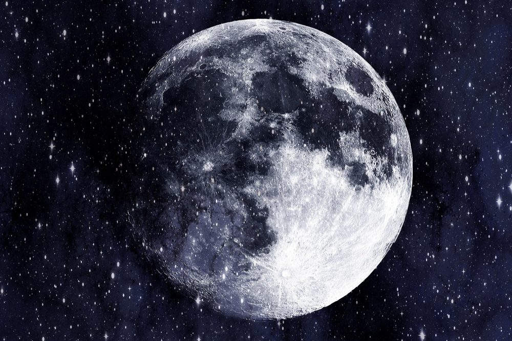 An artists rendering of the Moon and stars. Shutterstock.