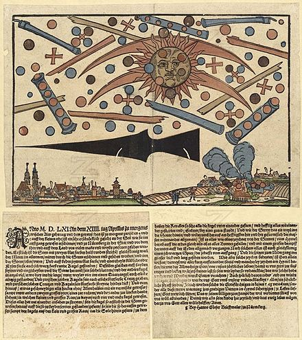 The mass UFO sighting described in a news paper dating back to April 14, 1561. Image Credit: Wikimedia Commons / Public Domain.