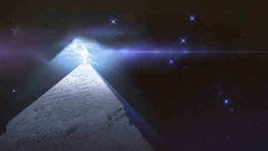 Pyramid and lightning. Shutterstock.
