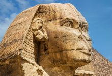 A stunning view of the head of the Great Sphinx. Shutterstock.