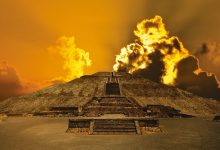 A view of a pyramid of Teotihuacan at sunset. Shutterstock