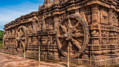 An image of the design motifs of the Konark Sun Temple. The temple is designed as a chariot consisting of 24 such wheels. Shutterstock.