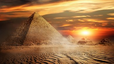 An Egyptian Pyramid and sunset. Shutterstock.