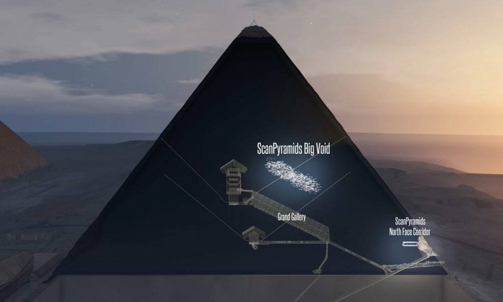 "The location of the ""Big Void"" illustrated within the Great Pyramid of Giza. Image Credit: ScanPyramids mission."