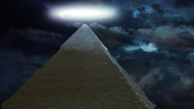 Strange light above pyramid. Shutterstock.