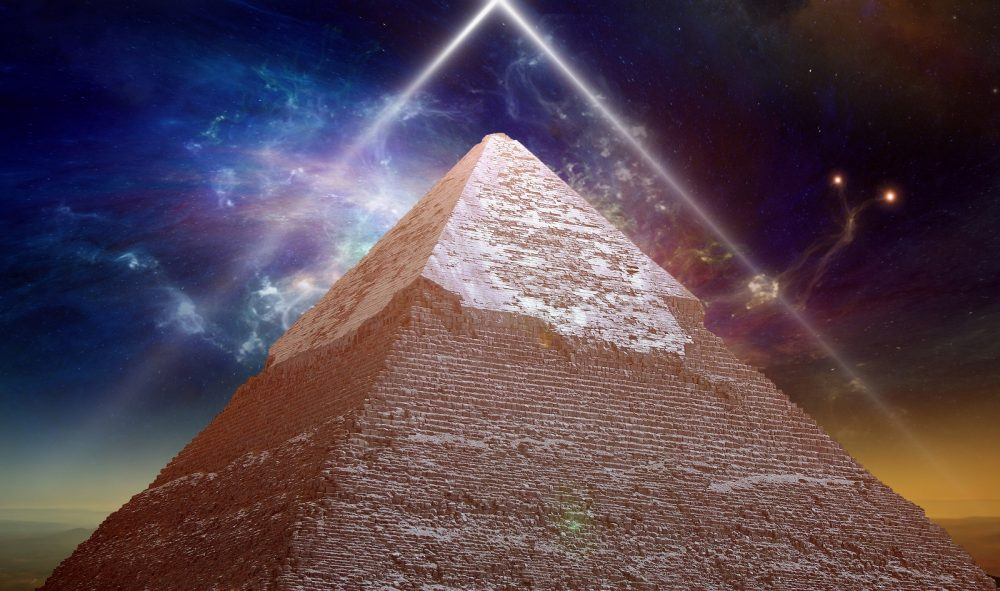 Pyramid and a cosmic background. Shutterstock.