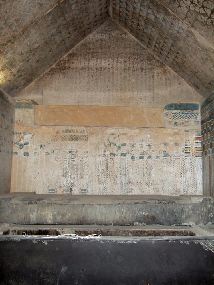 The burial chamber of King Unas featuring the famous pyramid texts. Image Credit: Wikimedia Commons / CC BY 2.0.