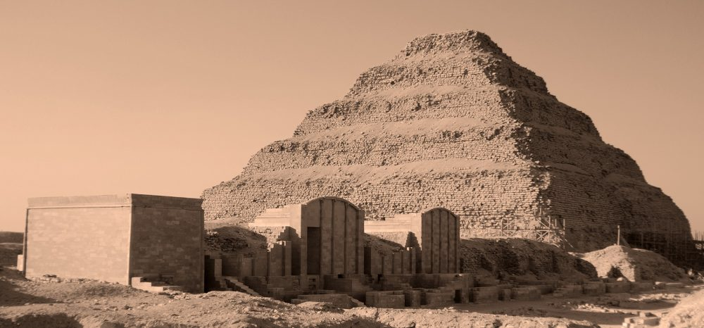 A view of Djoser's Step pyramid, the first ancient Egyptian pyramid. Shutterstock.