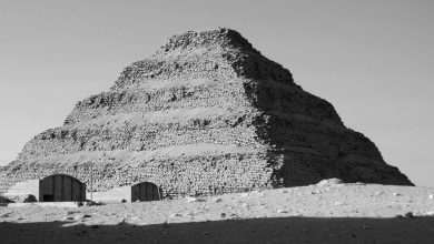 A black and white image of the Step Pyramid of Djoser at Saqqara. Shutterstock.