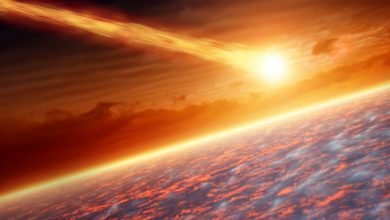 An artists rendering showing an asteroid entering Earth's atmosphere. Shutterstock.