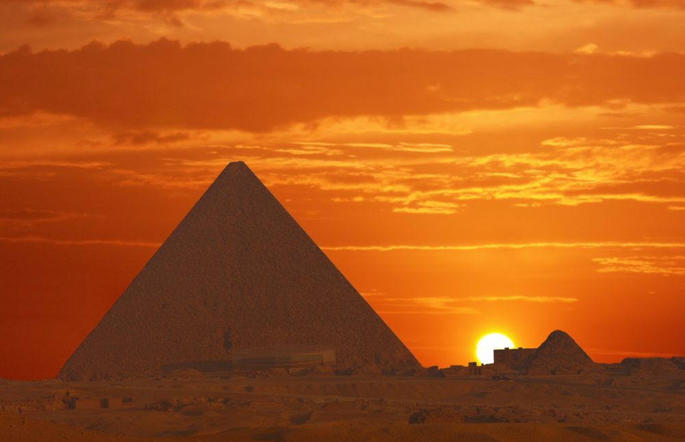The Great Pyramid at sunset. Shutterstock.