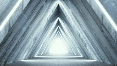 An artists illustration of pyramid-shaped light. Shutterstock.