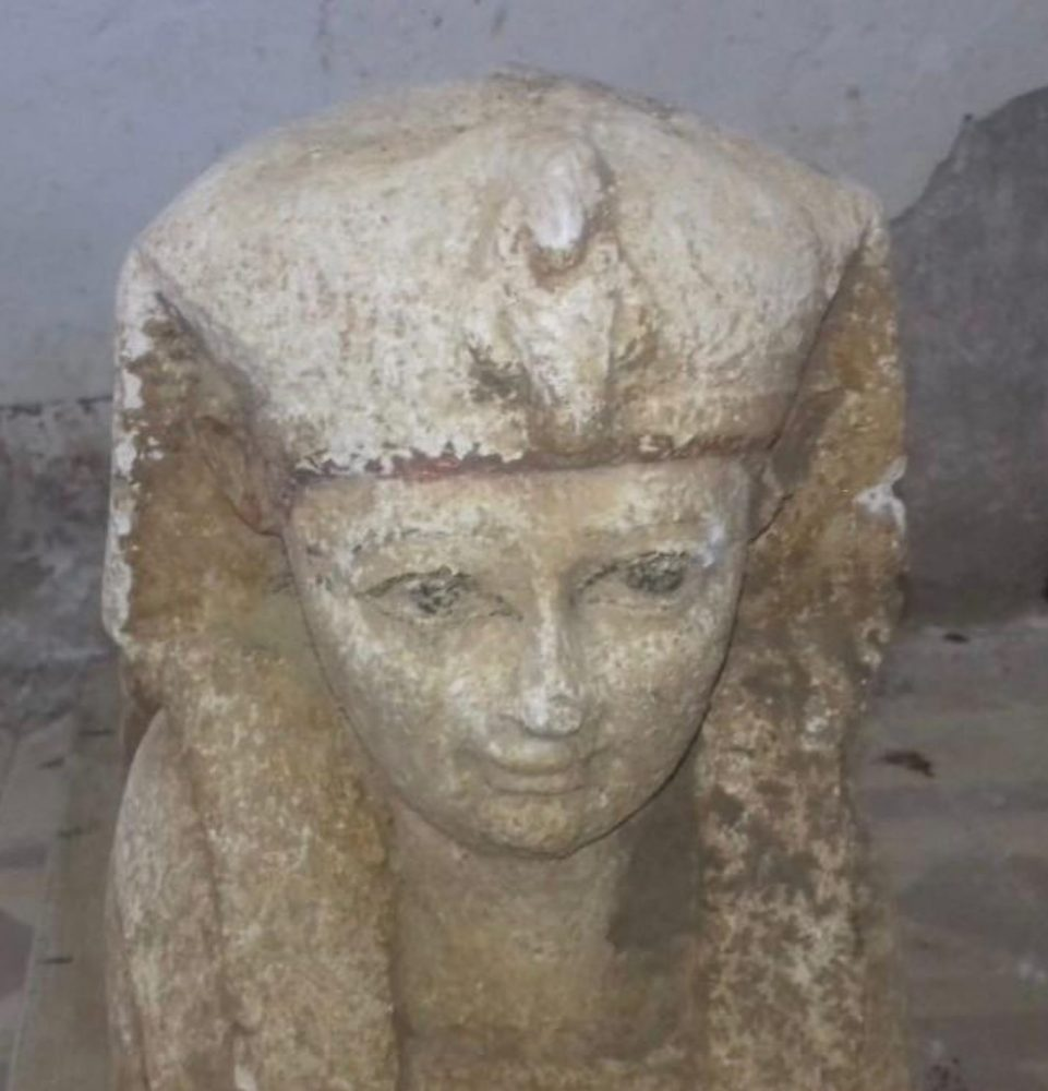 A view of the face of the recently discovered Sphinx. Image Credit: Egyptian Ministry of Antiquities.