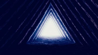 An artists rendering of light inside a pyramid. Shutterstock.
