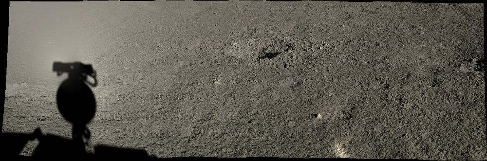A crater on the far side of the Moon as seen by the Yutu-2 rover. Image Credit: CLEP/Doug Ellison, Twitter.