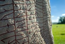 A close-up image of the Rok Runestone. Shutterstock.