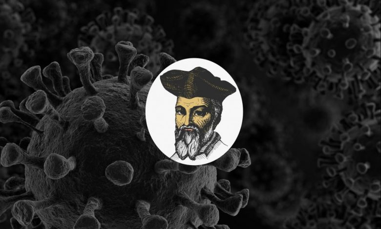 Artists rendering of Nostradamus and the Virus Coronavirus. Shutterstock.