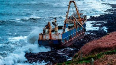 An image of the 77-meter-long cargo vessel the MV Alta, snagged on the rocks of the Irish Coast. Irish Times / Irish Coast Guard.