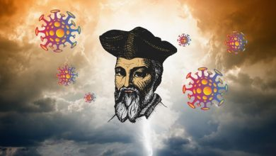 Artists illustration showing Nostradamus and the virus particles on a background. Shutterstock.