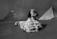 A rare image of the Great Sphinx, Khufu and Khafre's Pyramid before the Sphinx was fully excavated. Image Credit: Brooklyn Museum.