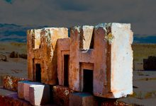 A close-up image of the h-blocks at Puma Punku. Shutterstock.