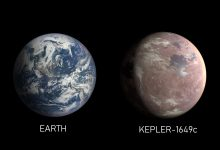 An image comparison of Earth and Kepler-1649c, an exoplanet only 1.06 times Earth's radius. Image Credit: NASA/Ames Research Center/Daniel Rutter.