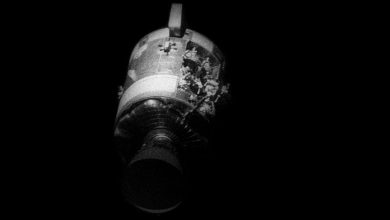 An image of Apollo 13's damaged service module, seen from the command module Odyssey, as it was being jettisoned shortly before reentry. Image Credit: NASA / Wikimedia Commons / Public Domain.