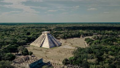 An aerial view of the Pyramid temple of Kukulkan at Chichen Itza. Shutterstock.