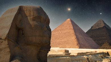 An image of the Sphinx, the Pyramid of Khafre, and the Great Pyramid of Giza in the middle. Shutterstock.