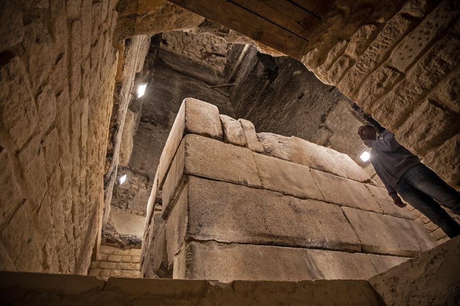 Inside the Step Pyramid at Saqqara. Image Credit: Global Look Press/dpa/Oliver Weiken.