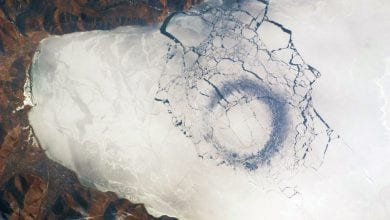 An astronaut's photograph of Lake Baikal, as seen from space. Image Credit: Wikimedia Commons.