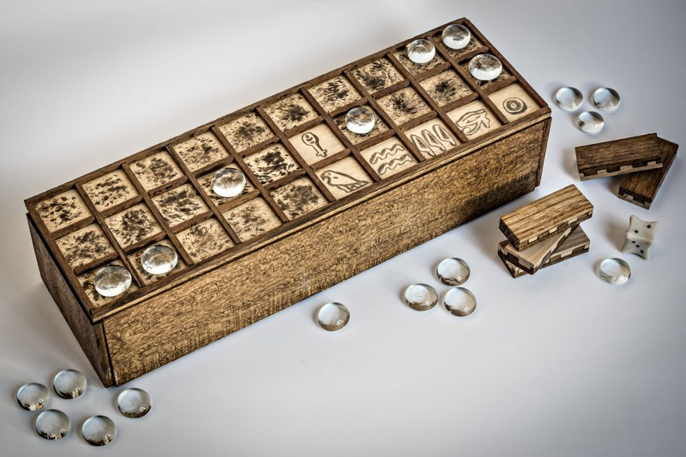 A modern replica of the ancient Egyptian board game Senet. Shutterstock.