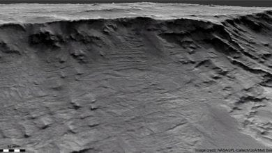 Channel-forms preserved in sedimentary strata in the Hellas Basin on Mars. Image Credit: HiRISE.
