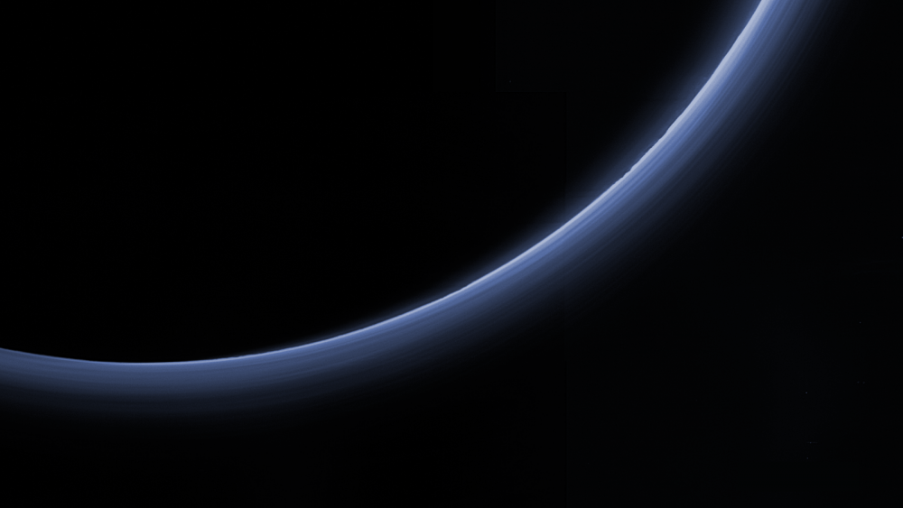 A high-resolution image taken by the New Horizons spacecraft showing Pluto's thin atmosphere. Image Credit: New Horizons.