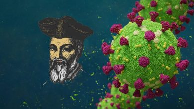 An artist's illustration of the COVID-19 virus and Nostradamus. Shutterstock.